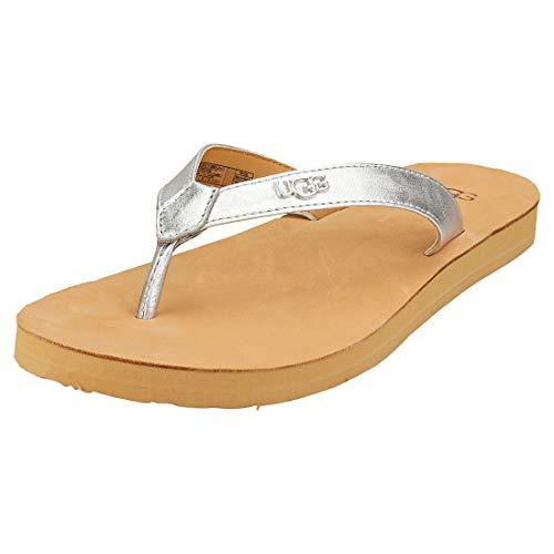 UGG Australia Damen Tawney Logo Sandale, Silberfarben metallisch, 40 EU