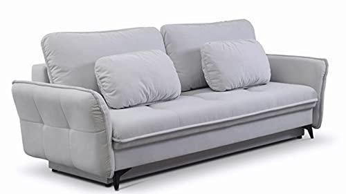 Furnetti Luizjana - Sofá cama de 3 plazas con función de cama, 200 x 140 cm, con cajón de cama de 240 x 100 cm, 3 plazas, de tela de terciopelo con núcleo de muelles, juego de sofá
