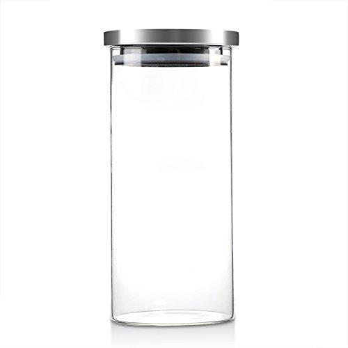 1000 ml glazen voorraadpotten, koffiebonen Keukenvoedselcontainer met roestvrijstalen deksel, glazen voorraadpot, ideaal voor thee, koffie, suiker, pasta, spaghetti, meel, koekjes(1000ML)
