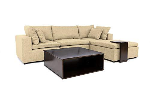 Casa AndreaMilano Modern Configurable Linen Fabric Sectional Wood Side Coffee Table | Living Room Modular Corner L Shape Sofa (Beige)