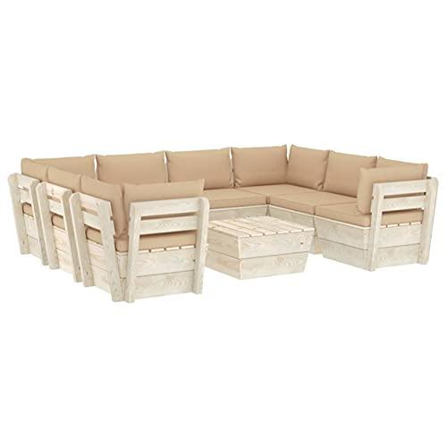 Tidyard Muebles de Jardín de Palets 9 Piezas y Cojines Beige Sofá Palet y Mesa de Centro Exterior Patio Sofá Central de Palets de Jardín Madera de Abeto