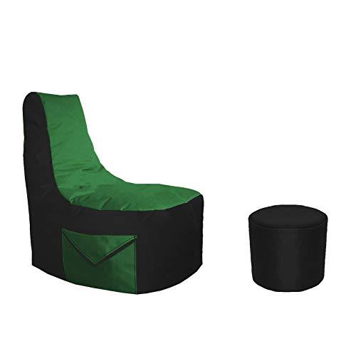 Lacasa Gaming Sitzsack 85x80x35 mit Seitentasche und Hocker Erwachsene Sessel XXL kompatibel mit PS4 XboxOne Nintendo Switch Outdoor Indoor Bodenkissen Sitzkissen in Schwarz & Grün.