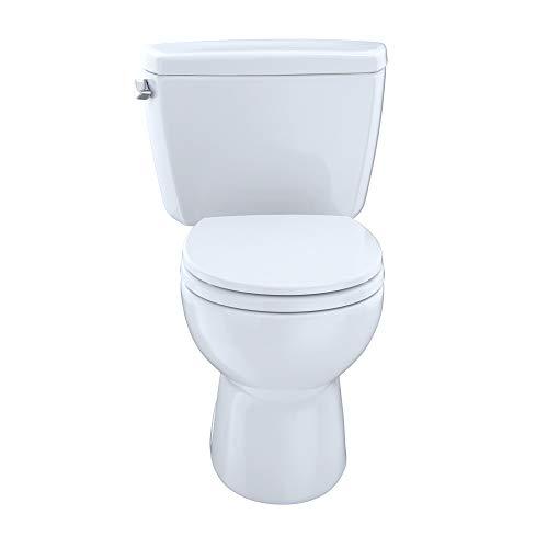 TOTO CST743ER#01 Eco#Drake Round Bowl Toilet with Right Hand Tank C743E + St743Er, Cotton White