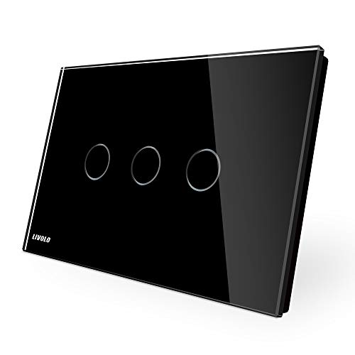 LIVOLO Interruttore della Luce con Indicatore LED Touch Switch con Pannello in Cristallo Toccare Interruttore a parete per Illuminazione Domestica,3 Gang 1 Way,C903-12