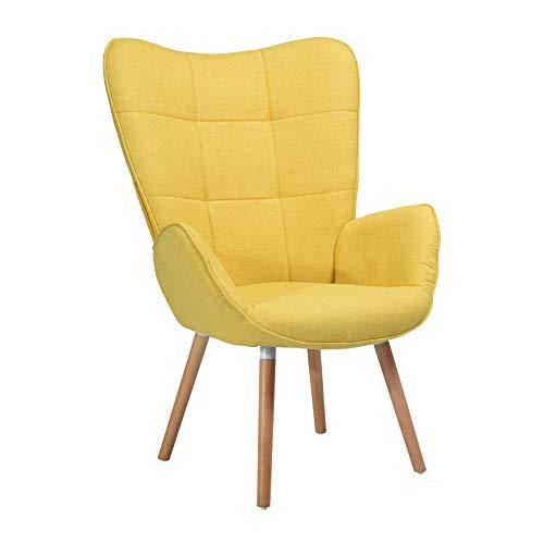 MEUBLE COSY Sillones de salón Butaca nórdica sillón acolchado con Reposabrazos y patas de madera