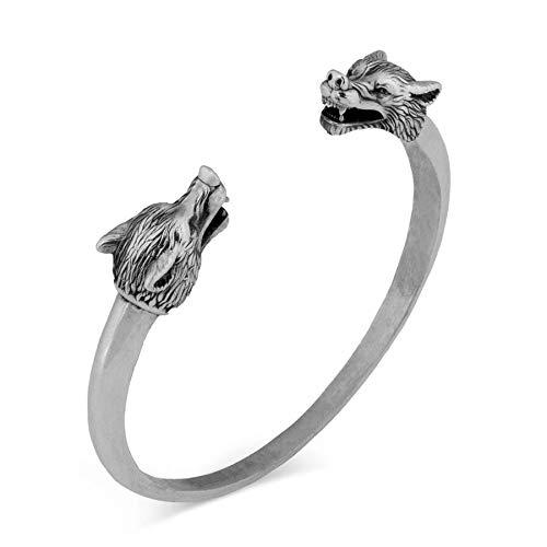 Pulsera abierta de plata para hombre, doble cabeza de lobo para hombre, joyería vikinga, estilo vintage, pulsera de animales