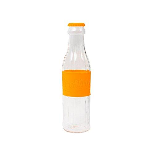 Balvi Botella Soda Color Naranja Botella de Agua de Cristal Original En Forma de Botella de Soda Jarra de borosilicato garrafa para Agua té Zumo Borosilicato 28,5x7,5x7,5