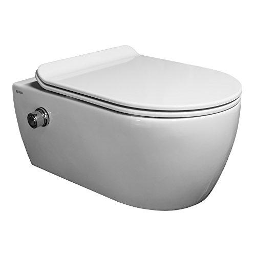 SSWW | Taharet WC | Spülrandlos | Inkl. Armatur und flachen abnehmbaren Softclose WC-Sitz | Dusch-WC | Hänge-WC | Toilette mit Bidet-Funktion | Beschichtet | Keramik | 540 x 360 x 330 mm