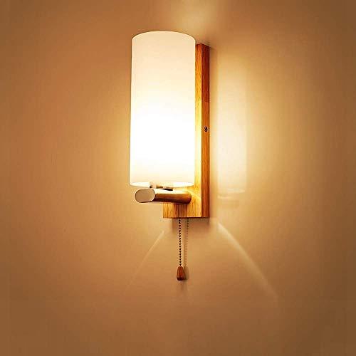 Luz de techo Luz de madera maciza de madera maciza, lámpara de pared de madera nórdica moderna con interruptor de pull, lámpara de noche de madera de tono de vidrio helada para la sala de estar de la