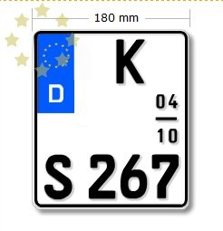 Saisonkennzeichen für Motorrad 180x200mm Deutschland