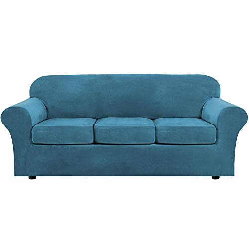 Thick Velvet Sofabezüge Super Stretch Rutschfeste Couchbezug, Samt Schonbezug Mit 2 Separaten Kissenbezügen,für Elastische Möbel Protector Plüsch Sofa Schonbezüge (3 Sitzer (173-229 cm),Pfauenblau)