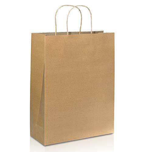 25 bolsas de papel kraft (8 x 4.75 x 10'), bolsas de la compra de papel marrón con asa, respetuosa con el medio ambiente y reutilizable, bolsa de regalo para minoristas, cumpleaños, bodas, fiestas