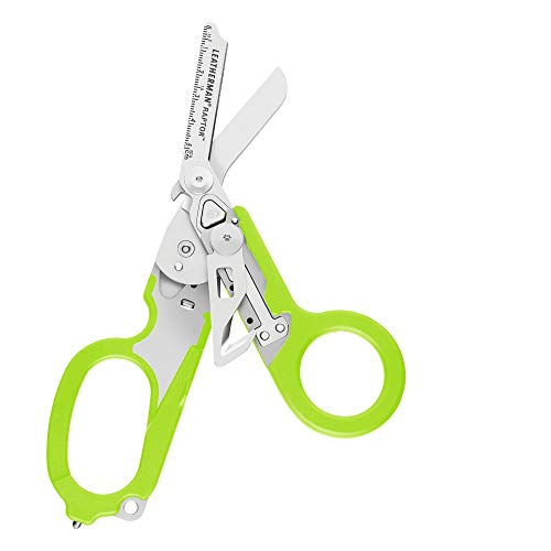 LEATHERMAN, Raptor Emergency Response Shears with Strap Cutter and Glass Breaker, Green with Utility Holster