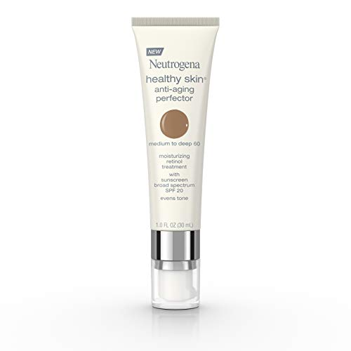 Neutrogena Healthy Skin Anti-Aging Perfector Tinted Facial Moisturizer and Retinol Treatment with Broad Spectrum SPF 20 Sunscreen with Titanium Dioxide, 60 Medium to Deep, 1 fl. oz