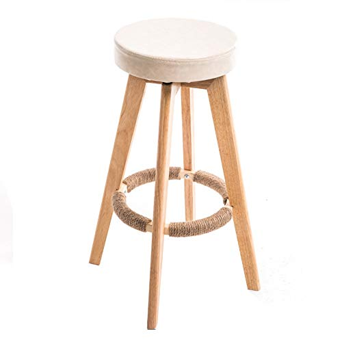 XEWNEG 360-degree Rotating Bar Stool, Home Solid Wood High Stool, Modern Minimalist Restaurant Breakfast Chair, with Hemp Rope Foot Stool, 6 Colors (Color : Meter White)