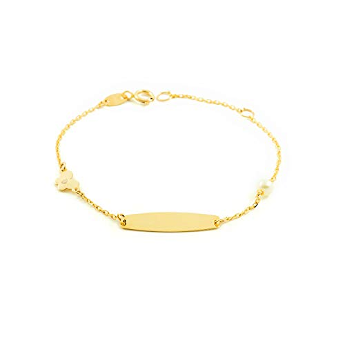 Pulsera Esclava Oro niña con mariposa y perla 4 mm (9kts)