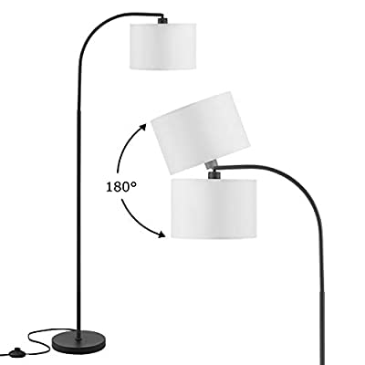 Arc Floor Lamp, LED Floor Lamp with Shade, Ambimall Adjustable Standing Lamp Modern Design, Mid Century Modern Floor Lamp for Living Room, Bedroom, Dining Room, Study Room and Office(Without Bulb)