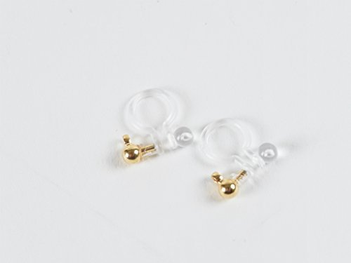 Oorbel onderdelen plastic nonholding pierce (3 mm bal) 1 paar (2 stuks helder x goud) met een blik