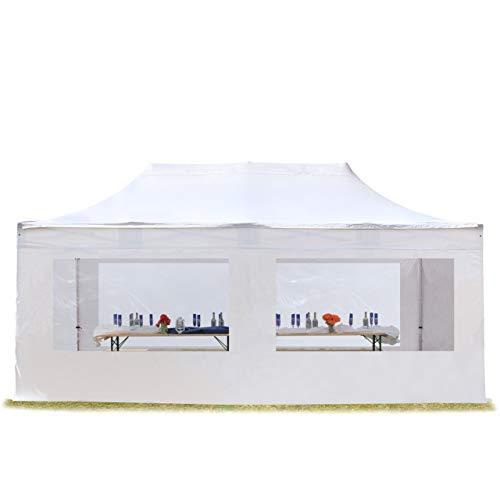 TOOLPORT Faltzelt Professional 3x6 m mit Panoramafenster Faltpavillon ALU Pavillon Partyzelt in weiß