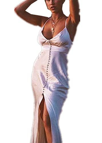 MAHUAOYIXI Sommer Frauen Elegant Solide Satin Seide Spaghetti Riemen Sexy Kleid Rückenfrei Schlitz V Hals Party Partykleid (weiß, S)
