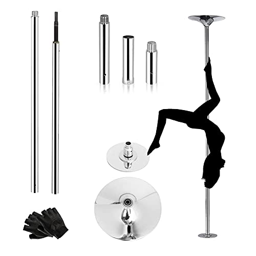 Thilemon Stripper Pole Spinning Static Dance Pole for Home Professional Dancing, Fitness Clubs, Parties, Bars and Family Fitness, Rotating Dancing Pole