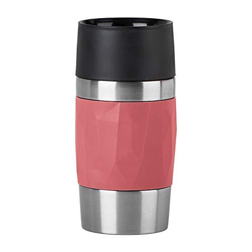 Emsa N2160400 Travel Mug Compact Thermo-/Isolierbecher aus Edelstahl | 0,3 Liter | 3h heiß | 6h kalt | BPA-Frei | 100% dicht | auslaufsicher | spülmaschinengeeignet | 360°-Trinköffnung | Korallenrot
