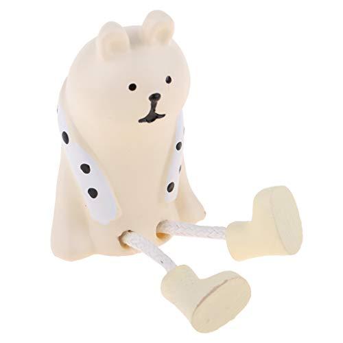 1/12 Puppenhaus Miniatur Kochgeschirr/Essen/Reinigungswerkzeuge/Feuertopf/Mikrowellenherd/Waschbecken/Keramikvase Modell - Weiß Bär