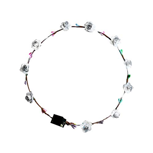 LED lights garland girl female Christmas birthday party concert headband hair accessories holiday gifts variety of options (Color : White)