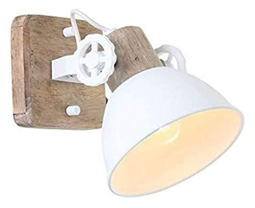 Steinhauer 7969W Lámpara de techo de pared vintage E27 rústica de madera y metal, color marrón y blanco, retro industrial, diseño adecuado para bombillas LED