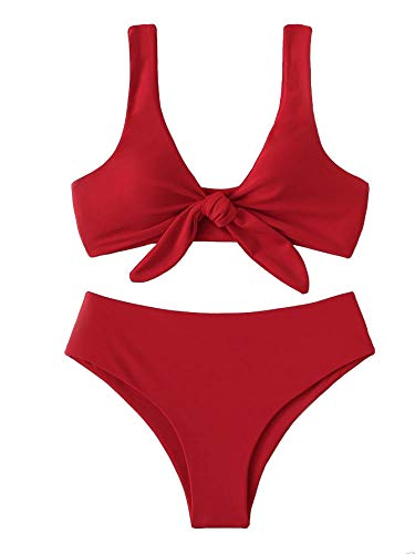 SweatyRocks Women's Bikini Tie Knot Front Detachable Swimsuit Soild Color High Waist Swimwear Set