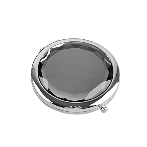 HUIHH Metal Pocket Makeup Mirror Fold Round Crystal Engraved Cosmetic Compact Mirror Portable 70 x 15 mm C