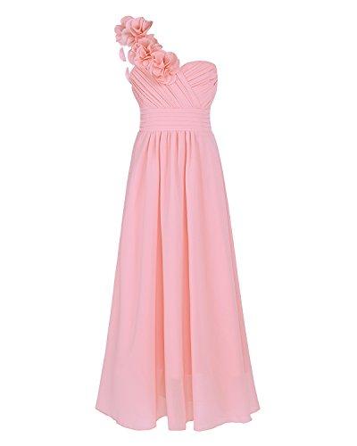 iEFiEL Blumenmädchenkleid Festlich Hochzeit Mädchen Brautjungfern Kleider Prinzessin Festkleid Festzug 104-164 Rosa 164