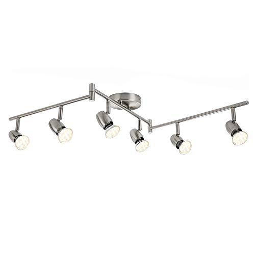 LED Deckenstrahler 6- Flammig, Dreh- und schwenkbar LED Deckenleuchte, inkl. 6 x 3W GU10 LED Leuchtmittel, 250LM,Warmweiß,Modern LED Strahler Deckenlampe - Matte Nickel [Energieklasse A+]