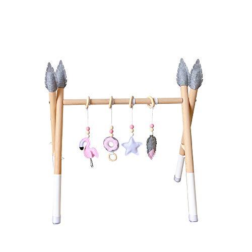 HB.YE Babyspielzeug aus Holz,Aktivcenter mit höhenverstellbaren Spiel-und Greiftrainer,Anhänger Baby-Fitness-Spielzeug (C-20)