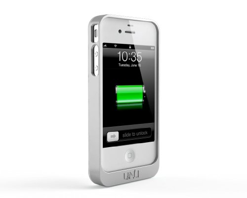uNu Exera Modular Detachable Battery Case for iPhone 4S 4 - White/Silver (Fits All Versions of iPhone 4S/4)