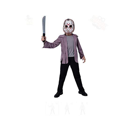 Generise Freitag, 13. Jason Killer Filmcharakter KostüM HorrorkostüM, Hockeymaske + Lila Oberteil, Halloween KinderkostüM (Kein Messer) L