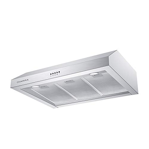 CIARRA CAS75908A 30 inch Under Cabinet Range Hood 450 CFM Stainless Steel Kitchen Stove Hood with 3 Speed Exhaust Fan, Dishwasher-Safe Permanent Filter, Push Button Control