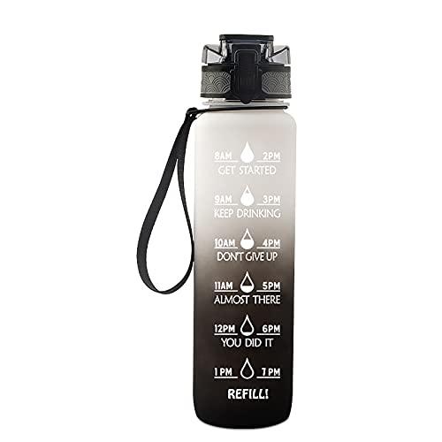 NXX Trinkflasche Sport - 1 L Wasserflasche I GroßE Sportflasche I Bpa Frei I Water Jug I Wasserflasche 1 Liter I Auslaufsicher I Gallone Water Bottle FüR Fitness I Sport I Gym,White Gray