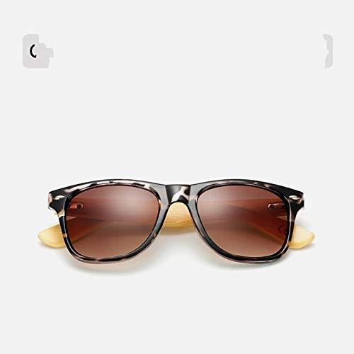 Sunglasses Gafas de Sol de Moda Gafas De Sol De Madera De Bambú para Mujer, Gafas De Sol Uv400 con Espejo, Gafas De Sol