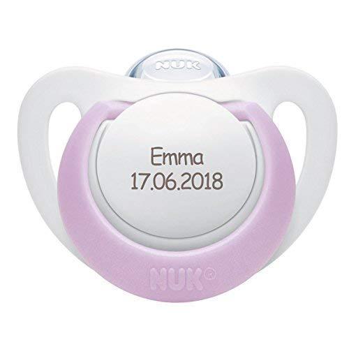NUK Genius Schnuller mit personalisierter Gravur, Silikon, kiefergerecht, BPA-frei (violett, Silikon, 6-18 Monate)