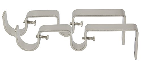 """MERIVILLE Double Curtain Rod Bracket - Designed for 1"""" Frond Rod and 5/8"""" Back Rod Double Drapery Rod, Satin Nickel, Set of 2"""