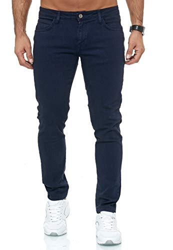 Redbridge Vaqueros Hombres Pantalones Denim Colored Slim Fit Azul Oscuro W34 L32