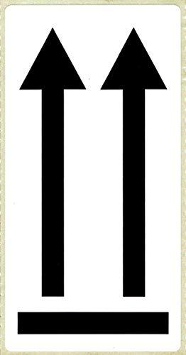 BT-Label 500 pegatinas de advertencia de 10,16 x 4,8 cm, doble flecha autoadhesiva, etiquetas de advertencia con símbolo de flecha aquí arriba, pegatinas para envío, etiquetas bien visibles