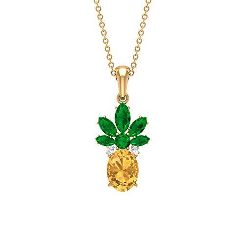 Rosec Jewels – Colgante Citrino de 2 CT, Colgante Esmeralda, Colgante de Diamante HI-SI (Calidad AAA) verde