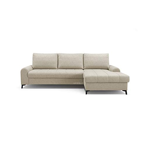 Canapé d'angle Beige Tissu Moderne Confort