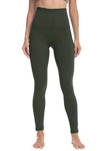 QUEENIEKE Yoga Hosen Damen-hohe Taillen Yoga Leggings mit Tasche Trainings Strumpfhosen für Laufen Fitness(Moosgrün, S)