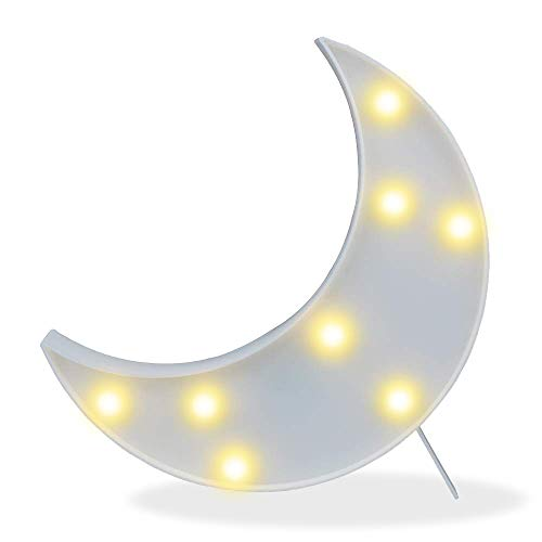 Decorative LED Crescent Moon Marquee Sign - Moon Marquee Letters LED Lights - Nursery Night Lamp Gift for Children (White)