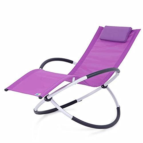 Tumbona Relax Lounger | Tumbona de jardín Tumbona | Silla de jardín | Silla Plegable | Tumbona Columpio | Sillón Mecedora | sillón reclinable ergonómico | Carga de 180 kg | Púrpura