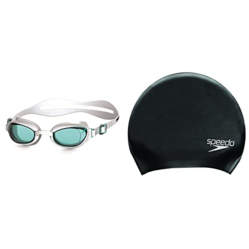 Speedo Women's Aquapure Goggles, White/Blue, One Size & Adult Unisex Long...