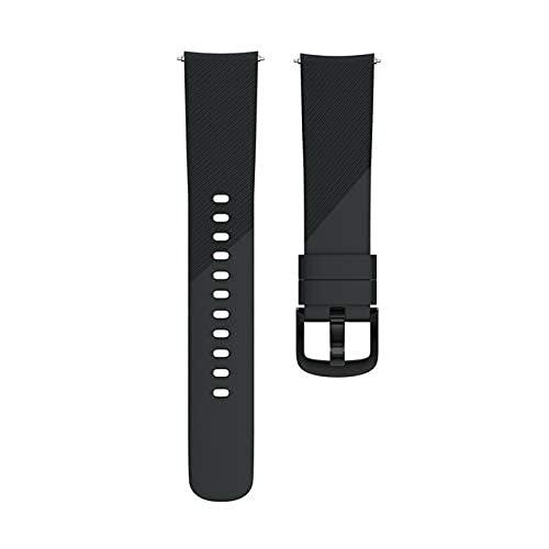 YYCHER Correa de reloj de silicona suave de 20 mm, compatible con accesorios de repuesto para reloj inteligente (color: negro, tamaño: 20 mm)
